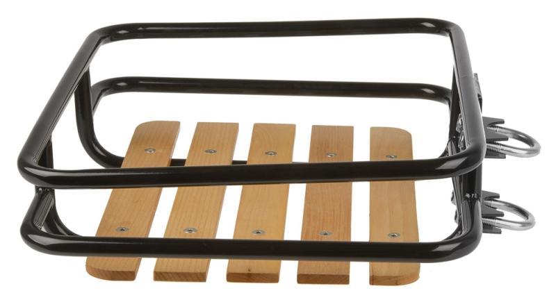 Vorderrad Gepäckträger mit Buchenholzauflage - Vorderrad Gepäckträger mit Buchenholzauflage